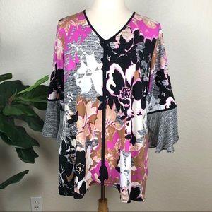 Plus Hi-Low Knit Floral V-Neck Tunic Pink & Black